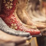 Cowboy boots in a store, vintage style western shoes