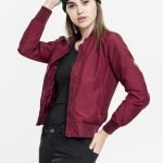 Ladies Light Bomber Jacket Burgundy