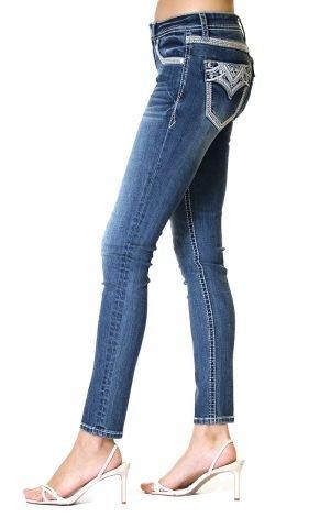Grace In LA Western Embellished Skinny Jeans